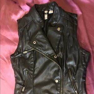 Lined Faux Leather Vest w/real pockets! punk vegan